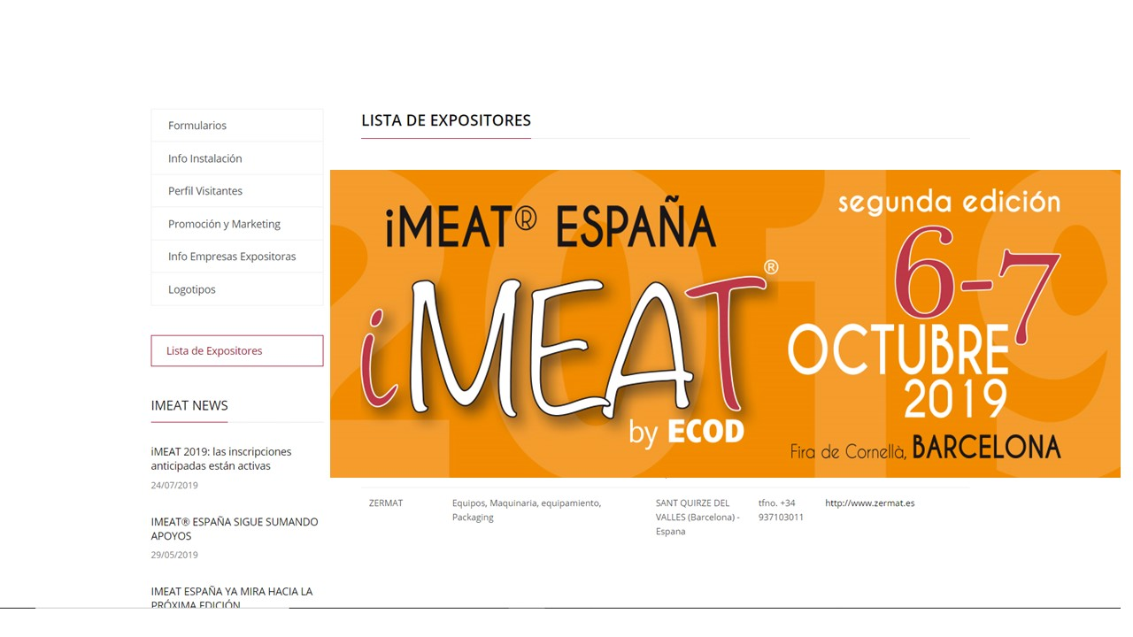 IMEAT 2019-INFO EXPOSITORES